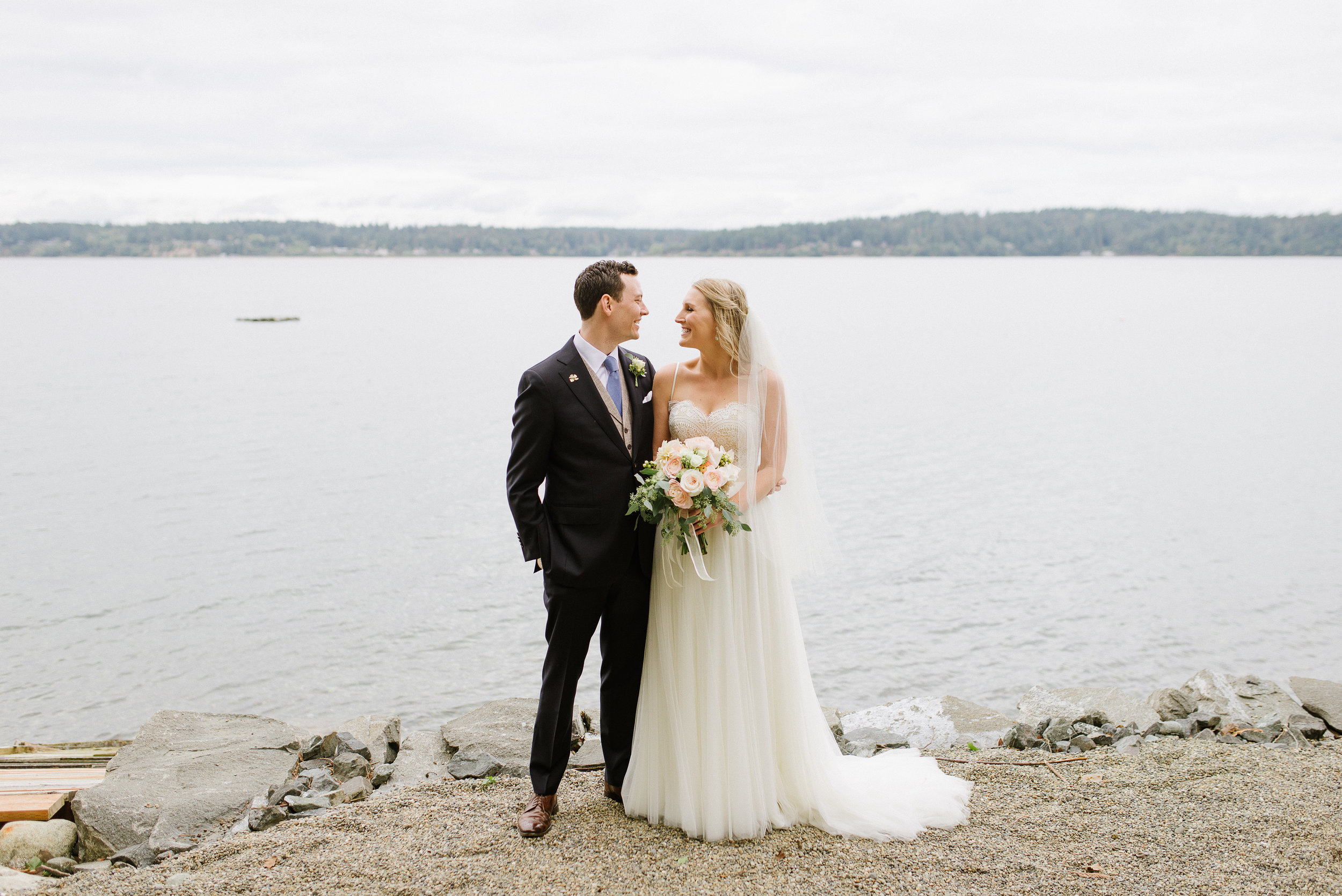 Gig Harbor wedding portrait on beach