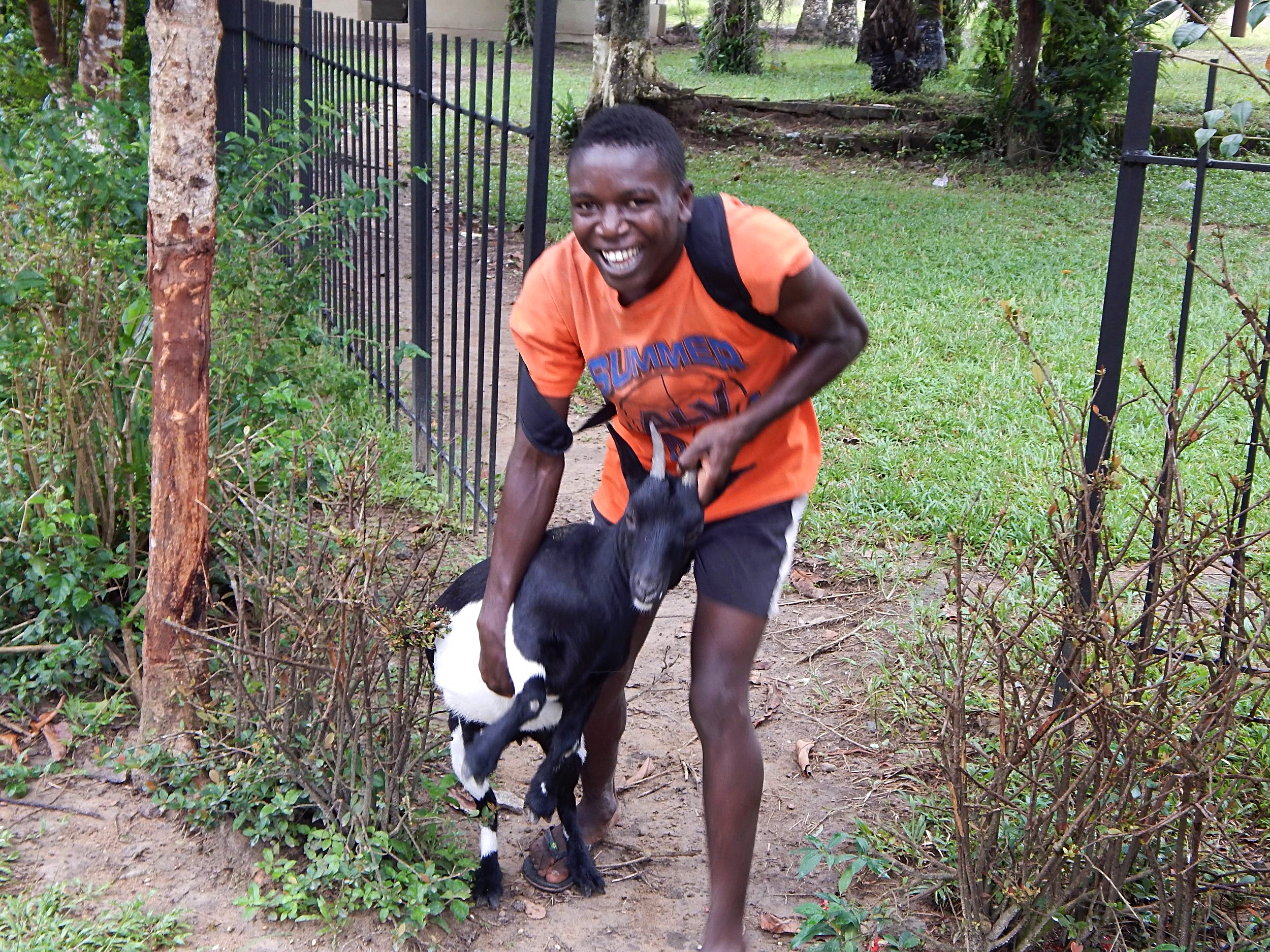 An LMI student caring for our goats in 2014.