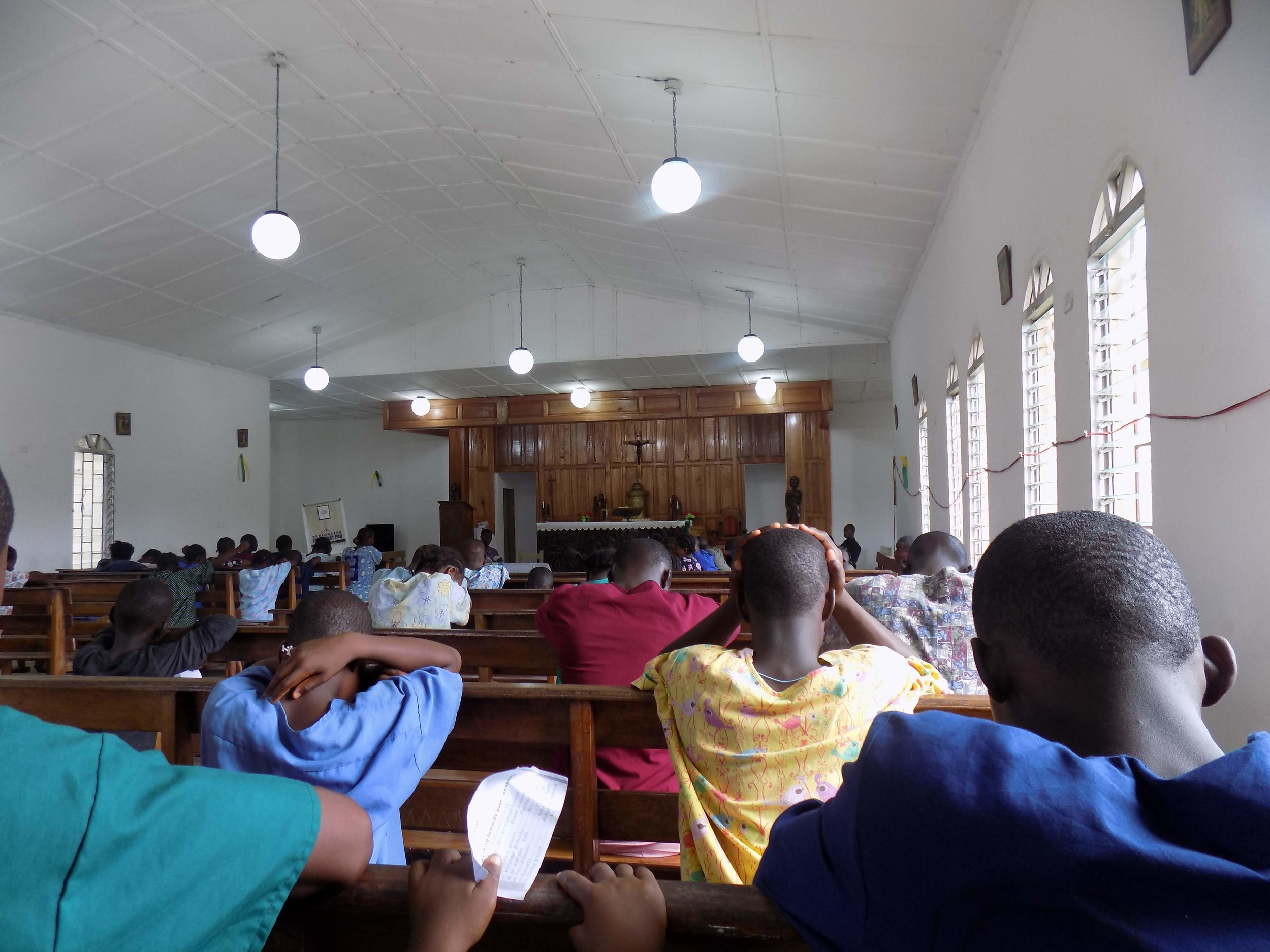 Students gathered for prayer in our chapel in 2013.