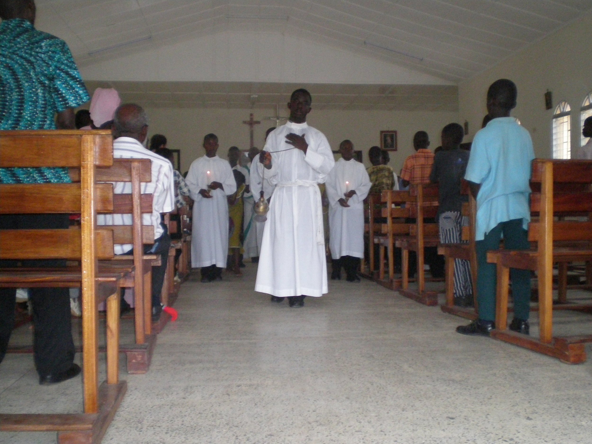 Celebrating mass together at St. Michaels' chapel in 2008.