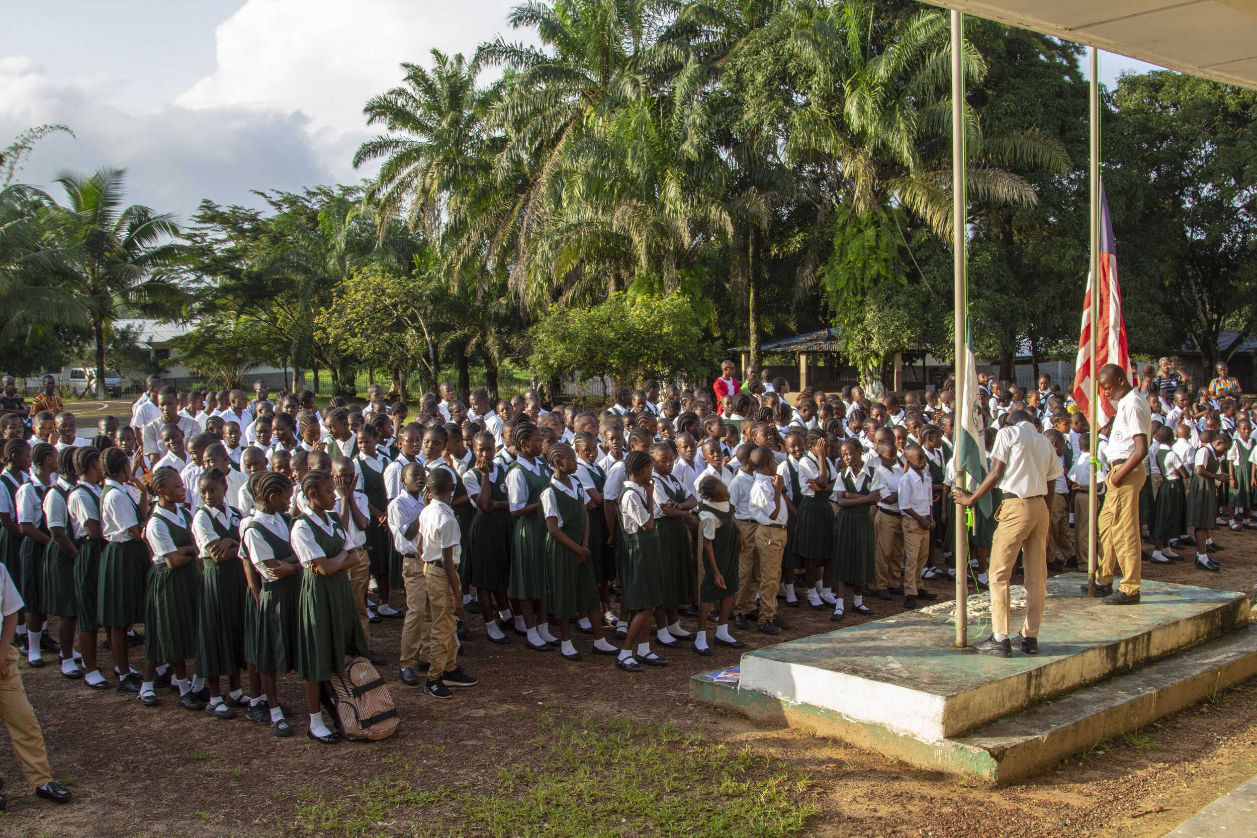 Students gather every morning during devotion for prayer and announcements.