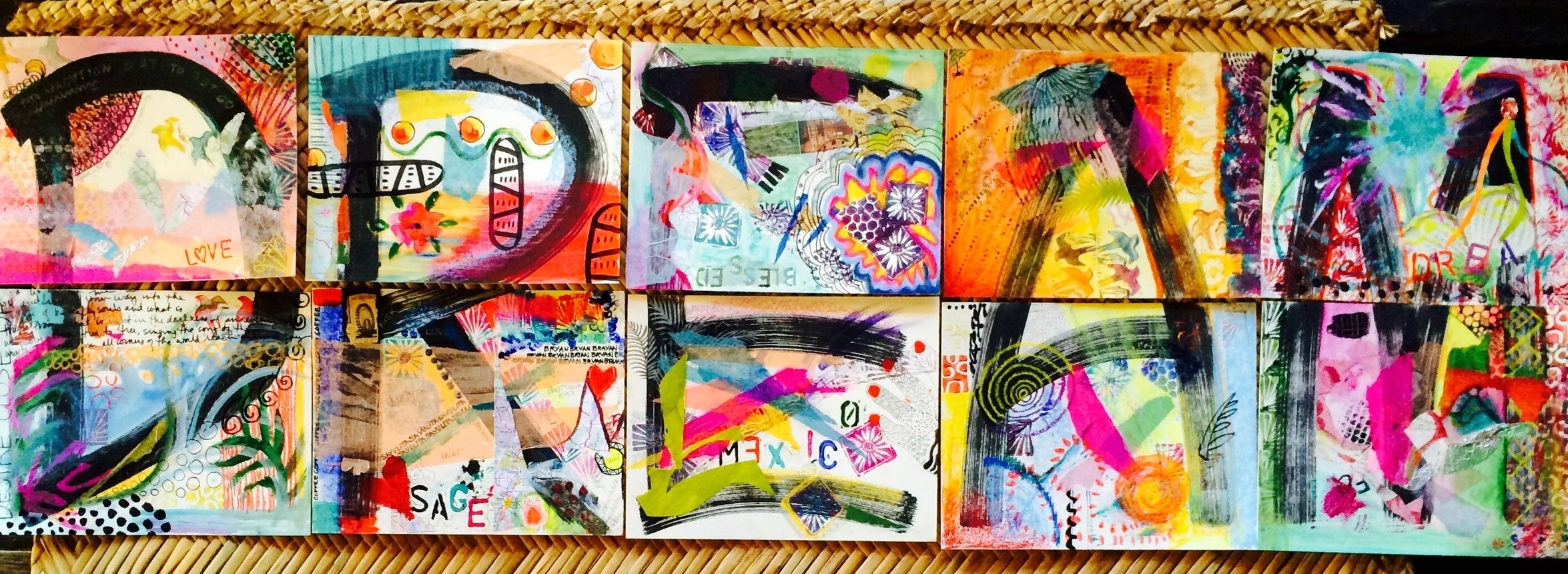 Collaborative Mixed Media Art created by students at our Sayulita, Mexico Art Retreat, 2014