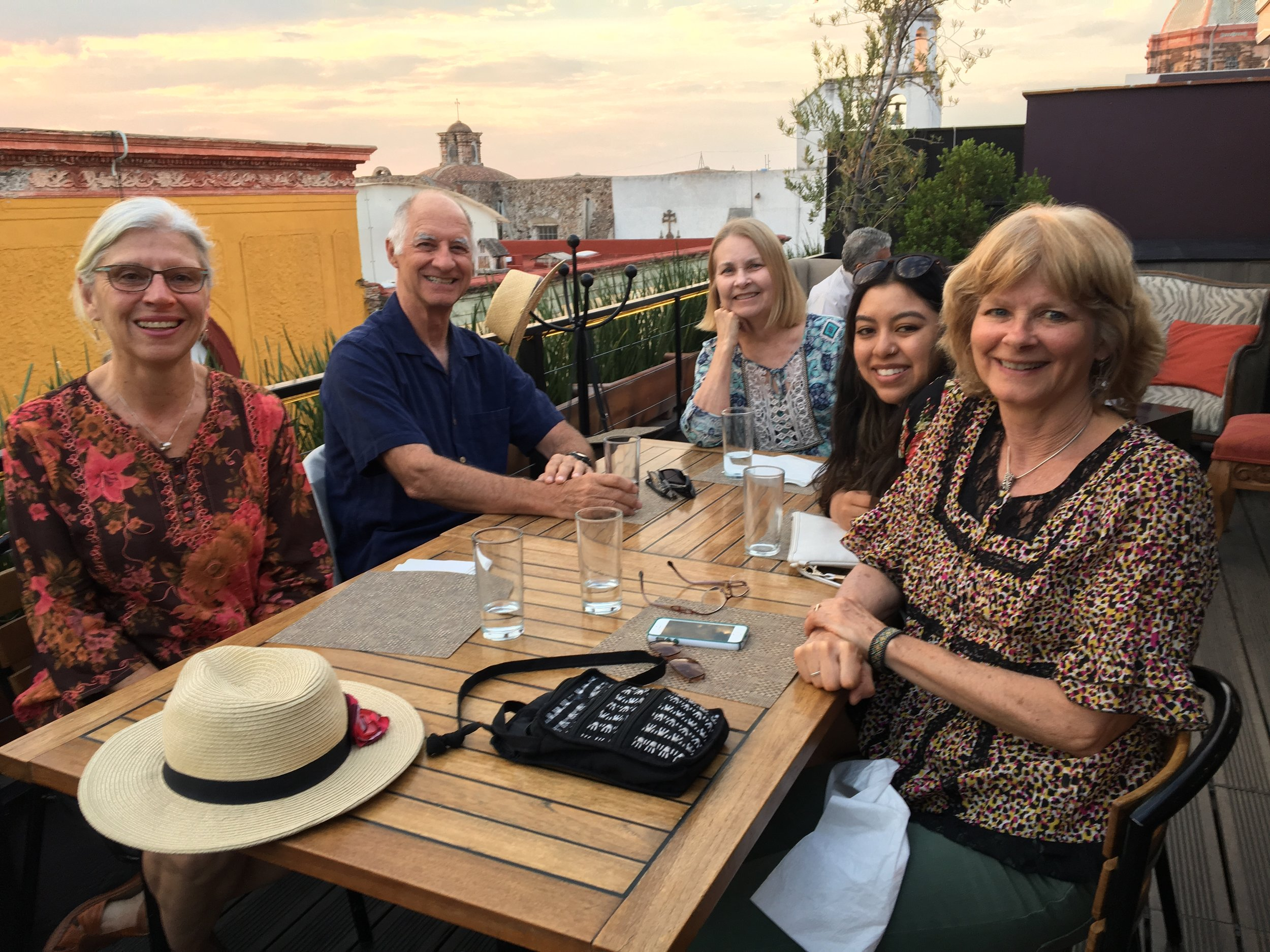 Ok- just  one more  rooftop. Eileen, Bob, Kathy, Lilly, our assistant, and my partner, Liz Collins. We visited a total of 8 different rooftop cafe's, but didn't find all of them! Another reason to come back.