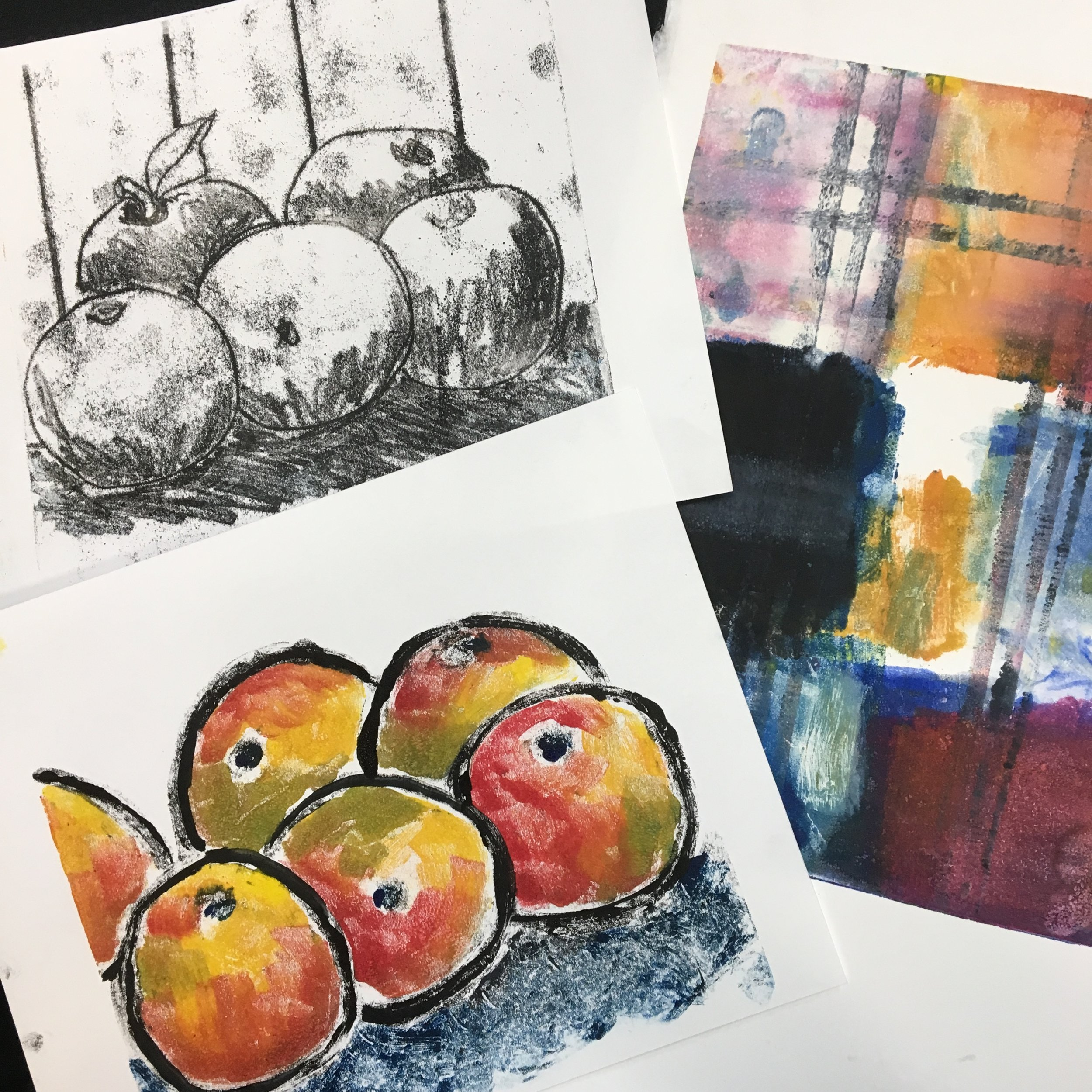 monoprint samples by Eileen Blodgett