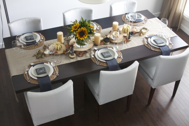Design Thanksgiving Table Setting, Slate Dining Room Table Setup