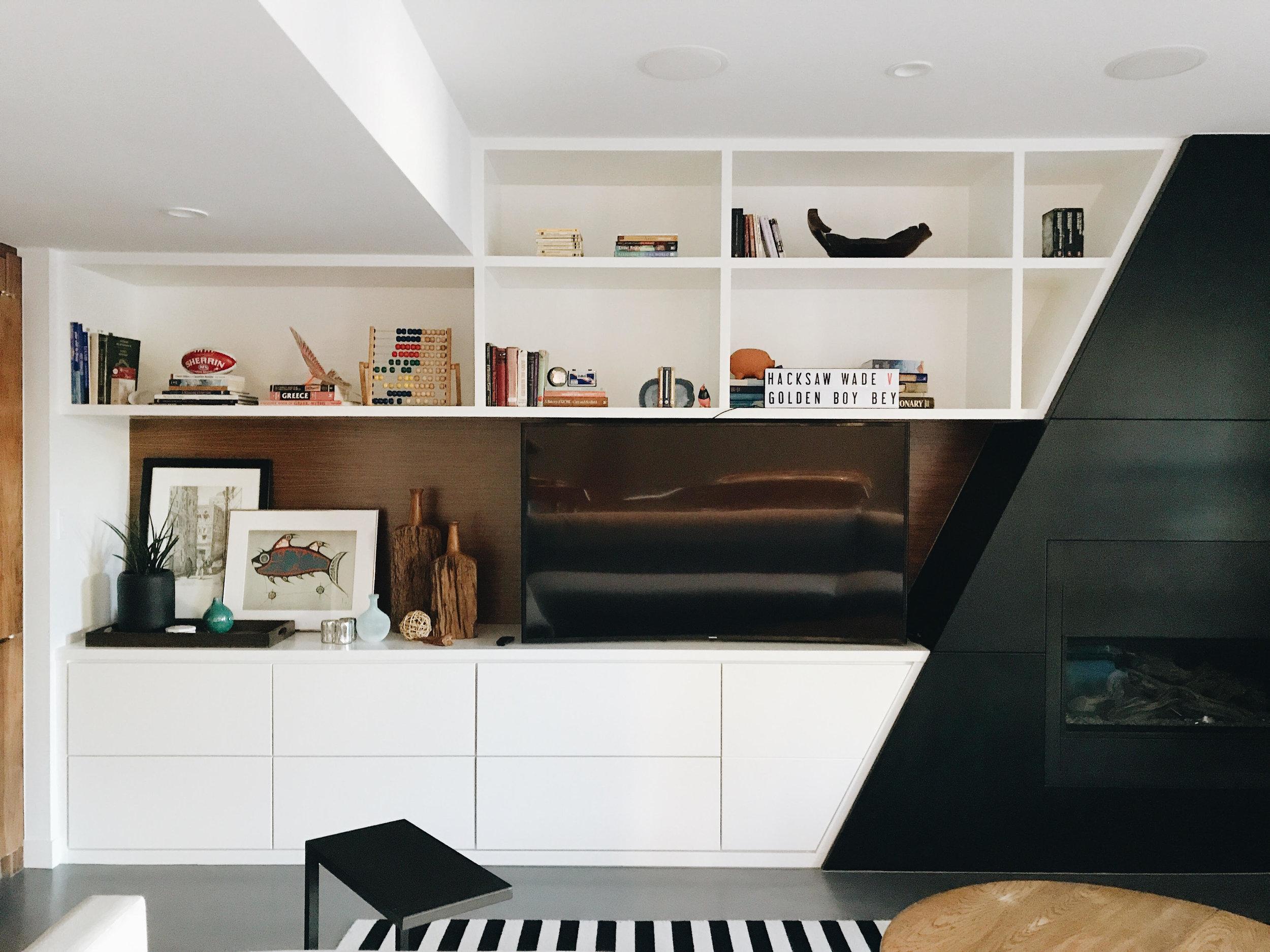 Bookshelf *before*, Nyla Free Designs Inc., Calgary Interior Designer, Before & After
