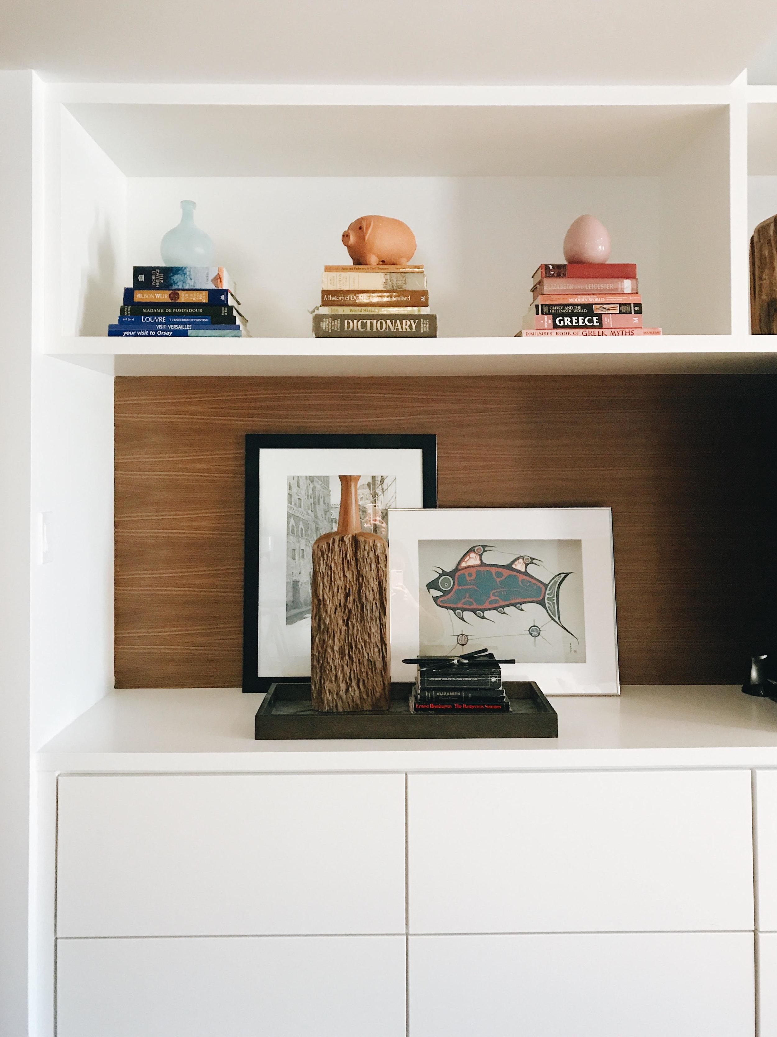 Bookshelf *after*, Nyla Free Designs Inc., Calgary Interior Designer, Before & After