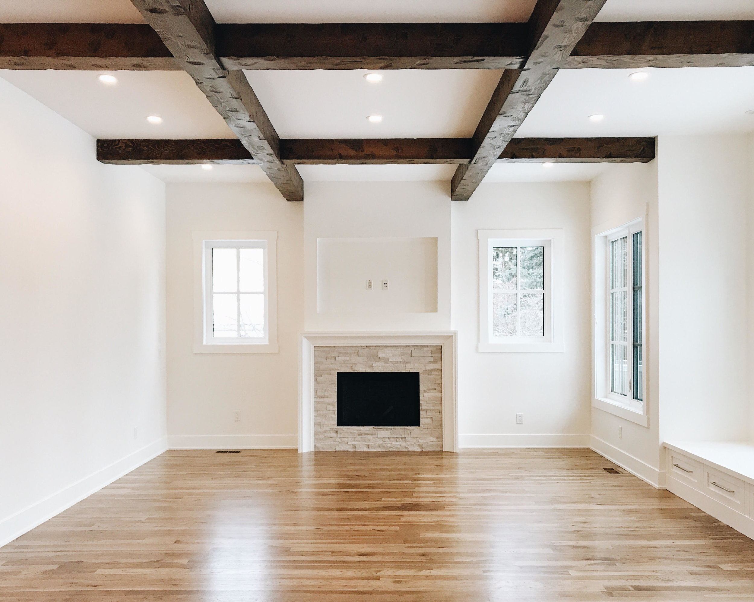 The look of the family room upon arrival for installation.All ready for us to make our mark! This is also the last visual our clients had of this space.
