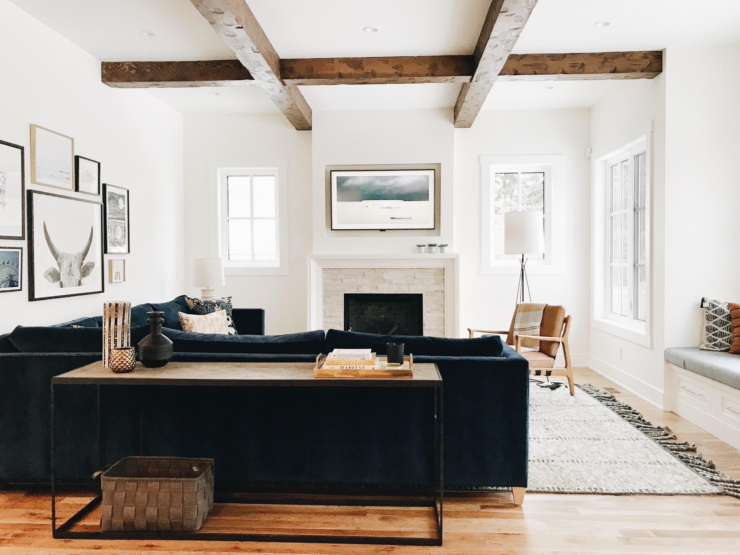 Before & After Family Room, Nyla Free Designs Inc., Calgary Interior Designer, Veranda Interiors Design | Build #nfdivarsityestates