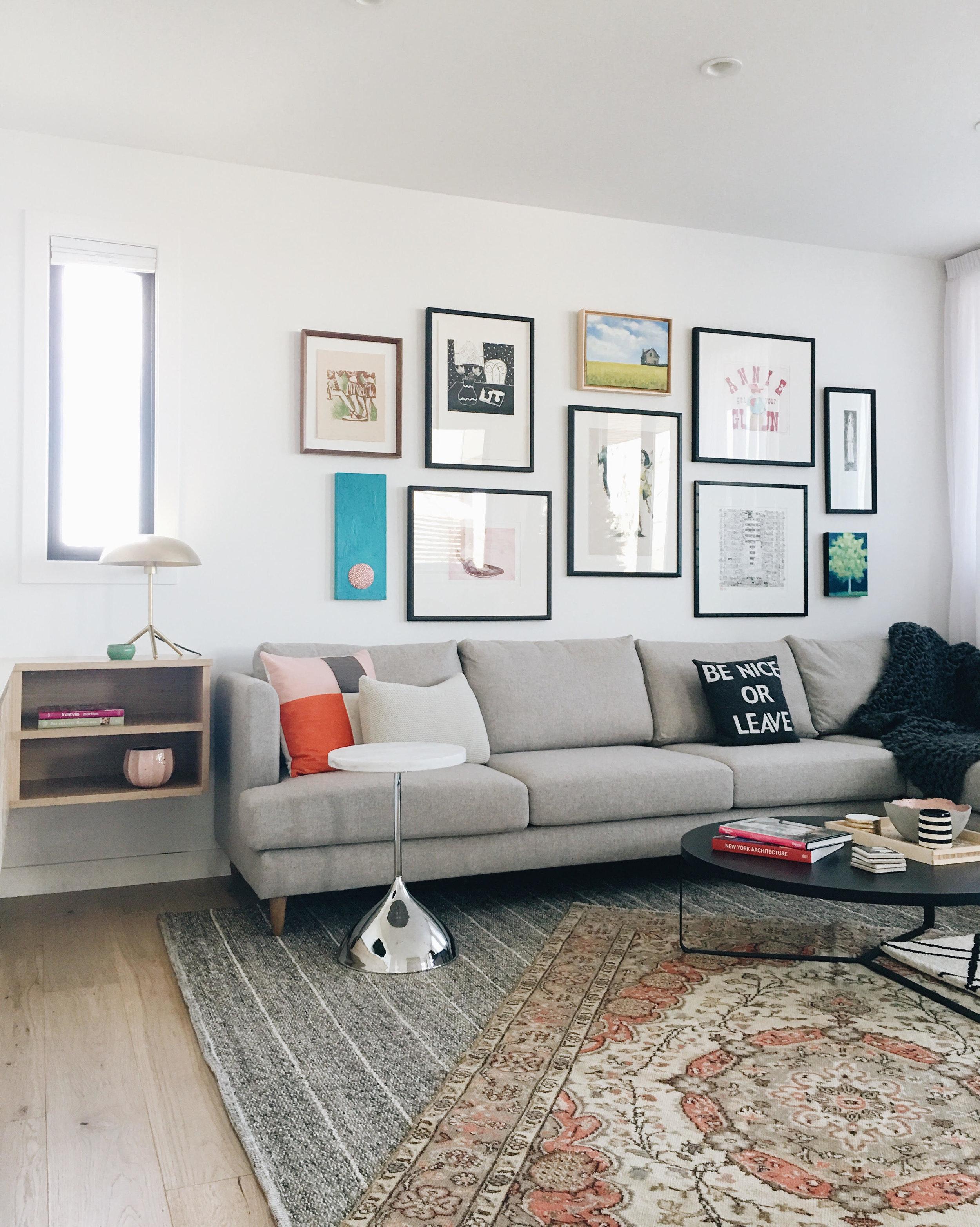 Living Room Gallery Wall, Nyla Free Designs, Calgary Interior Designer