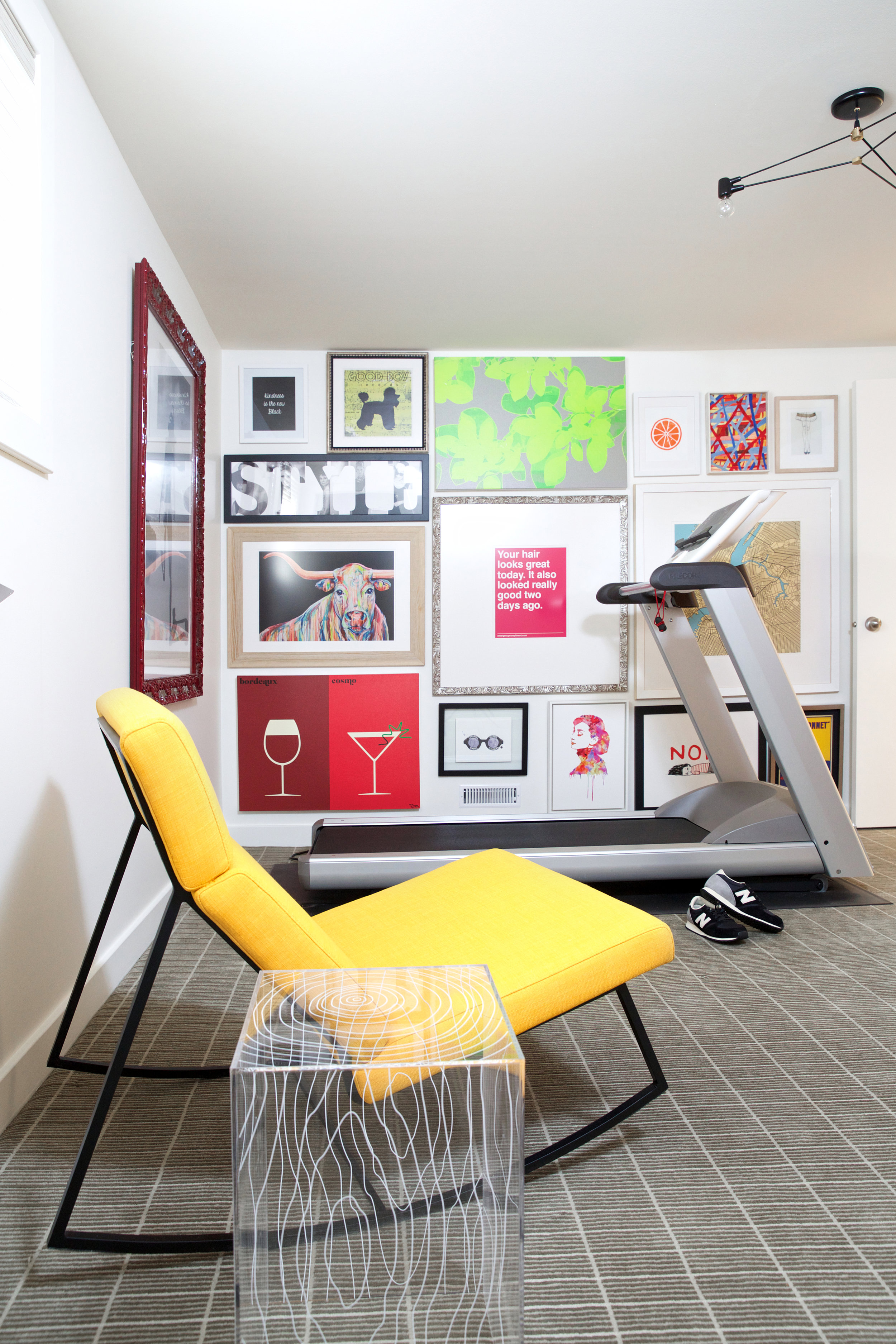 Workout Room Gallery Wall, Nyla Free Designs, Calgary Interior Designer, Photo: Phil Crozier