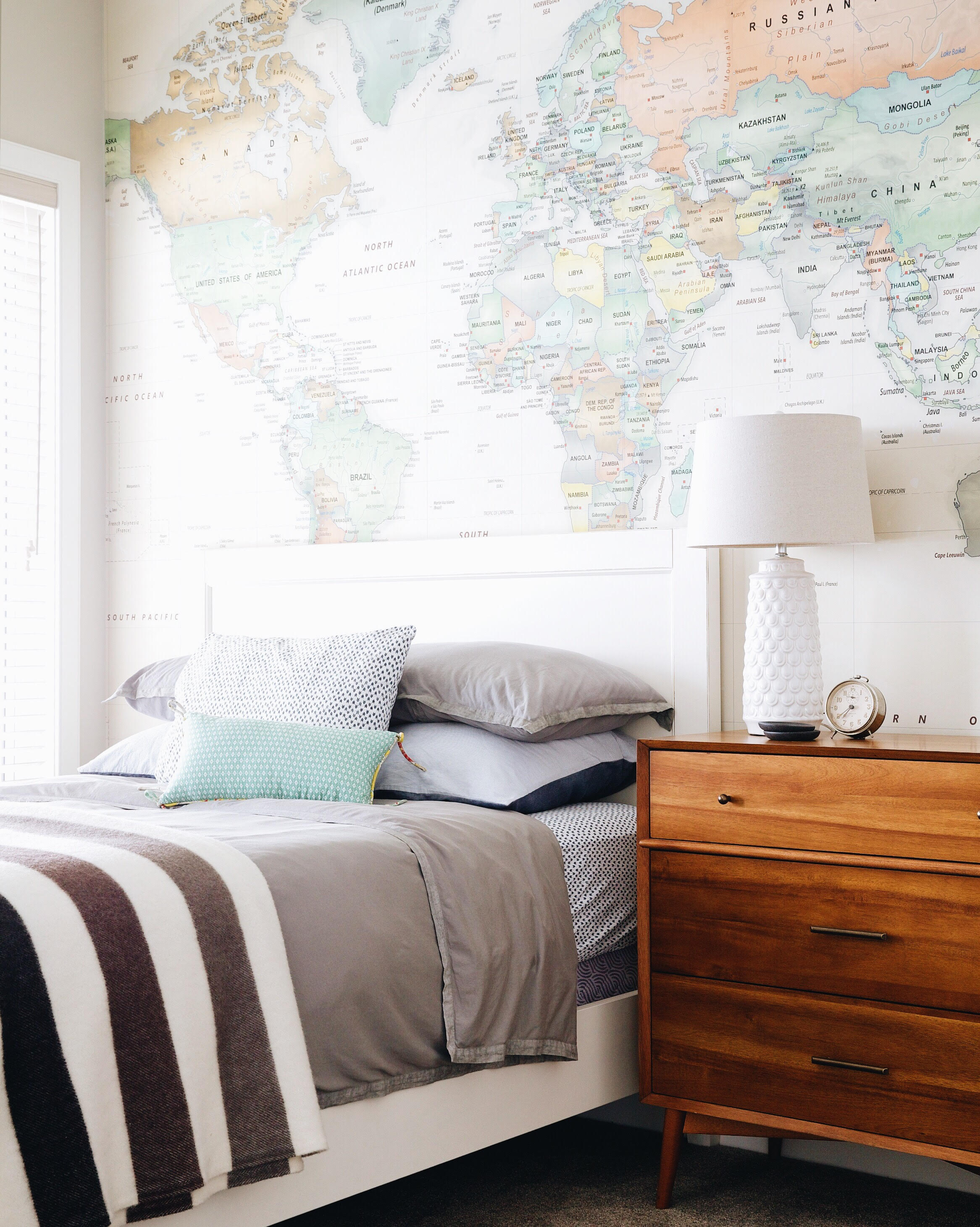 At our   Sylvan Lake project  we installed a wall to wall, floor to ceiling world map in the guest room