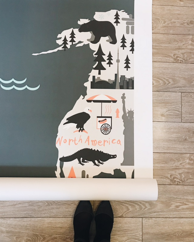 Another wall to wall, floor to ceiling application, this whimsical map of the world for a kids playroom is complete with illustrations representing each part of the world. By   Murals Wallpaper  .More photos of this project coming soon to our   Portfolio!