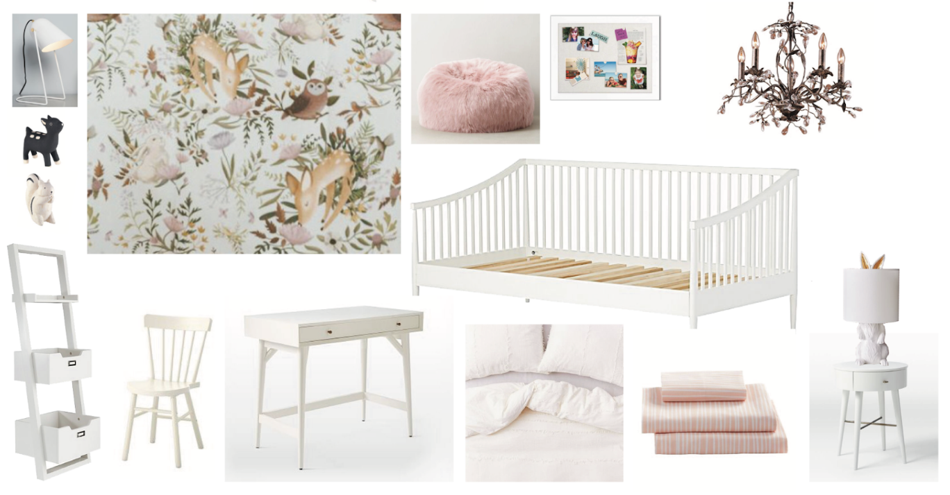 Little Girl's Woodland Wonderland Bedroom, Nyla Free Designs Inc., Calgary Interior Designer