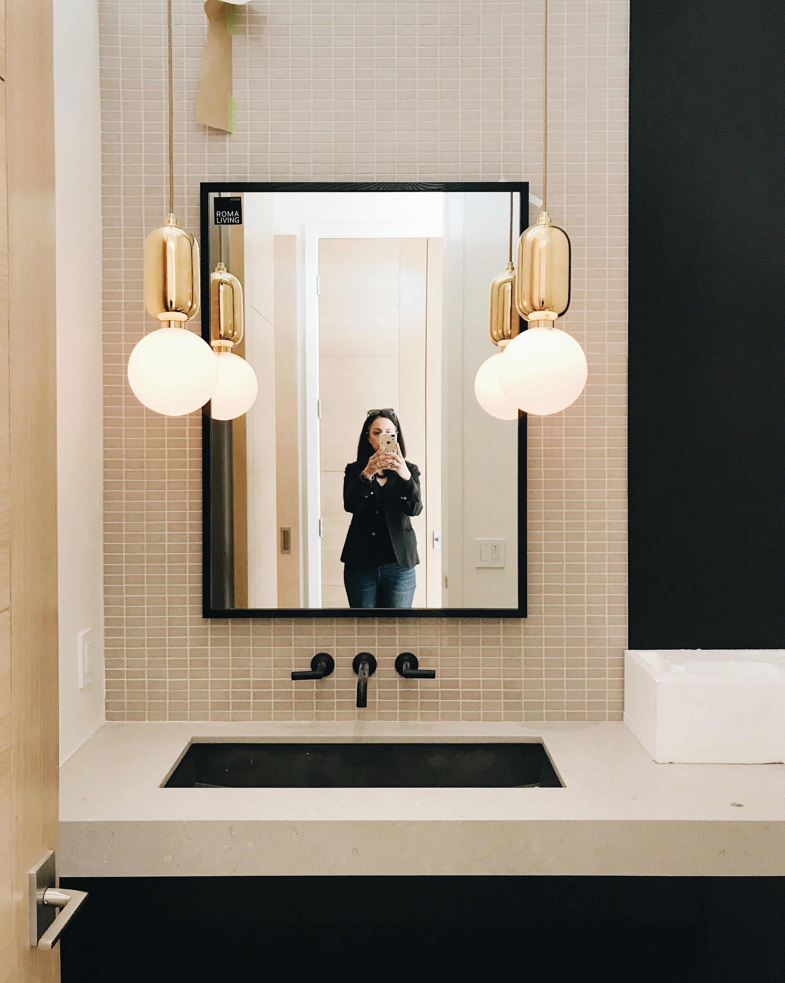 Elbow Park Modern Powder Room Reveal, Modern Contrast with Muted Colours, Calgary Interior Designer, Nyla Free Designs Inc.