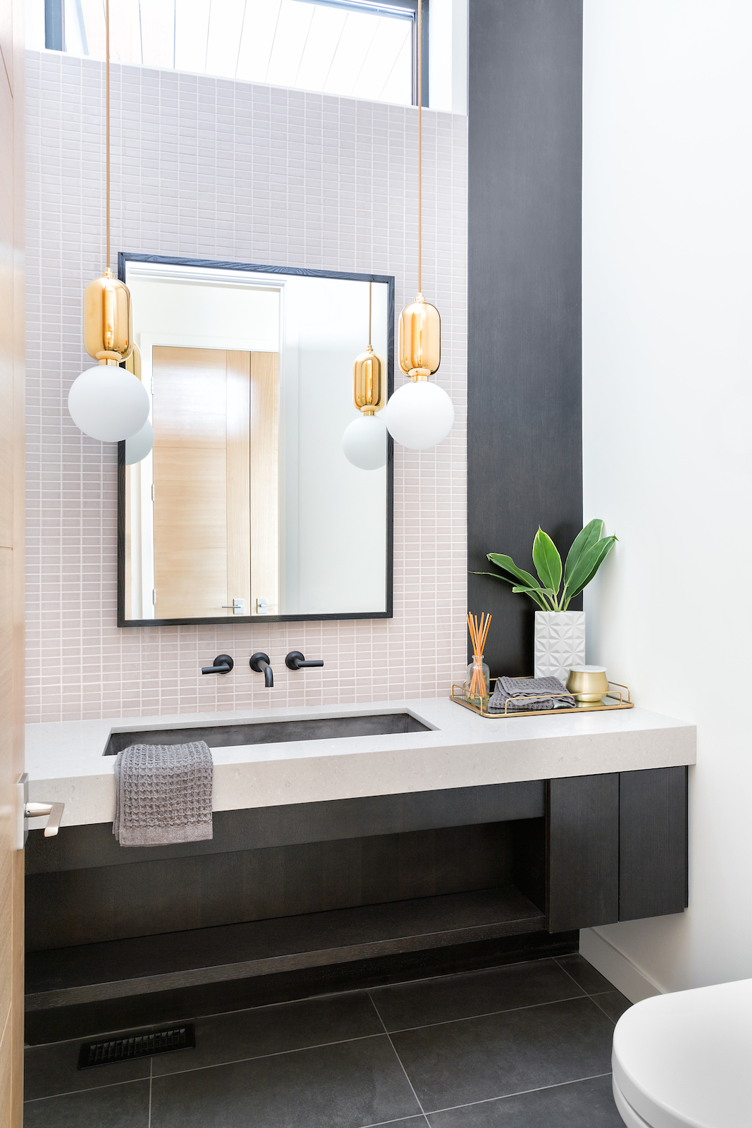 Elbow Park Modern Powder Room Reveal, Modern Contrast with Muted Colours, Calgary Interior Designer, Nyla Free Designs Inc., Phil Crozier Photography