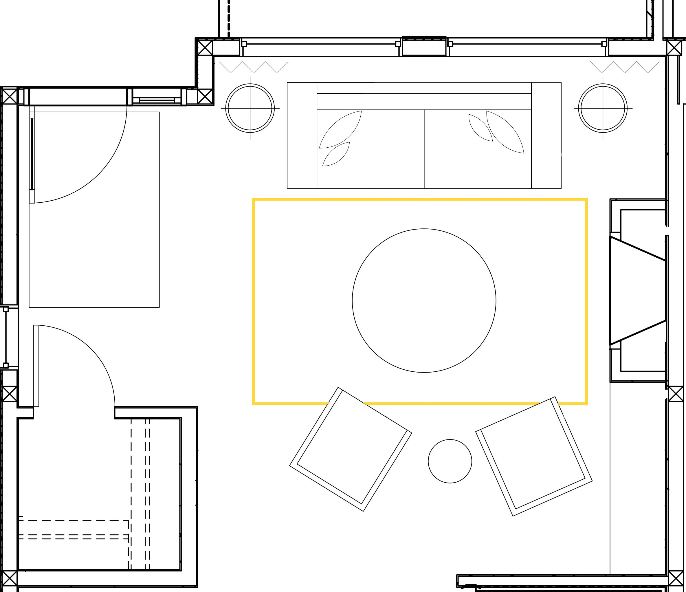 The size shown above is too small for the space and does not anchor the furniture together. In a living room setting, a 6x9 is often too small to offer the connection or anchor point designers look for when pulling a room together.
