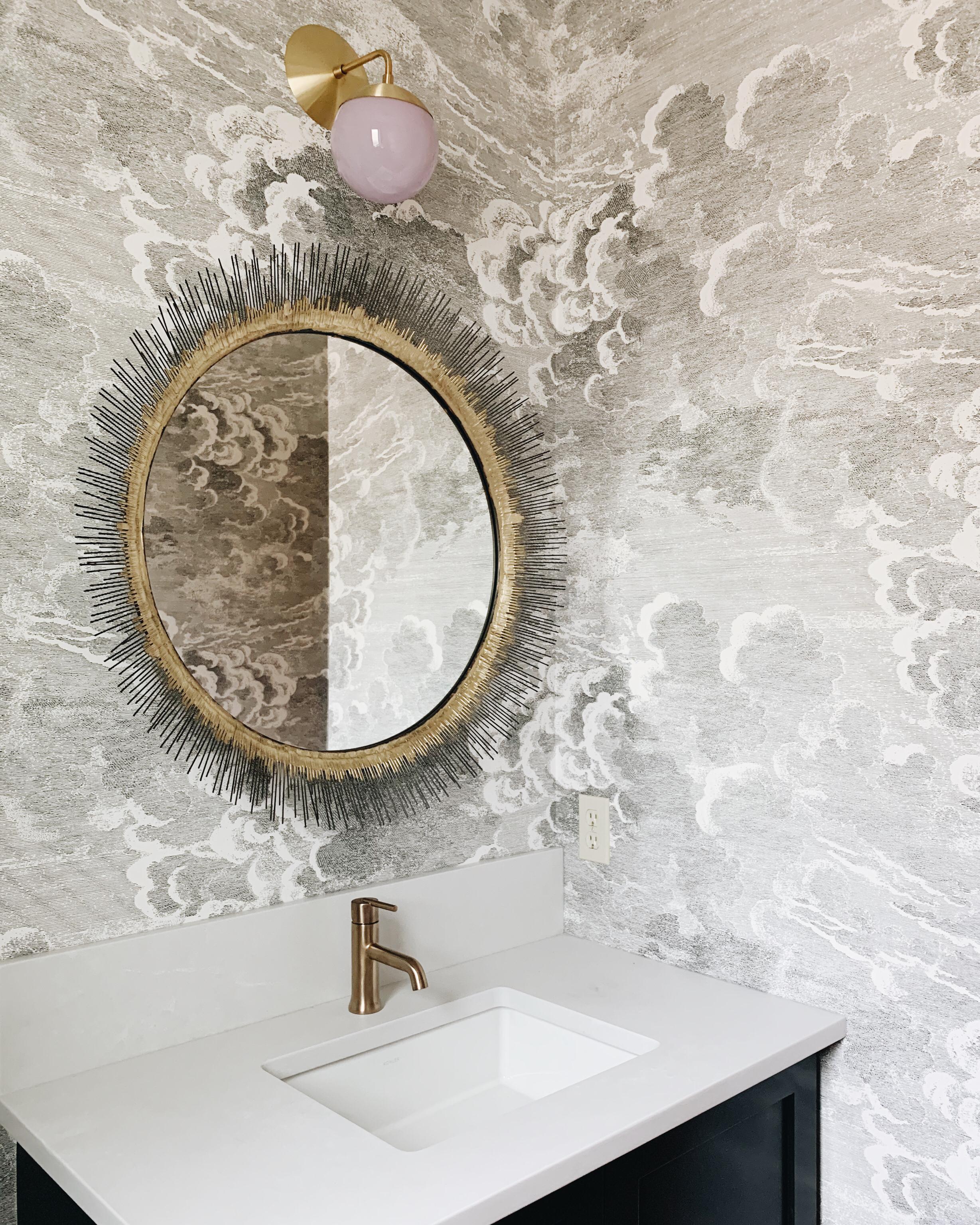 Project Sneak Peek, Powder Room Renovation, Calgary Interior Designer, Nyla Free Designs, #cloudswallpaper #coleandsons #powderroom #renovate