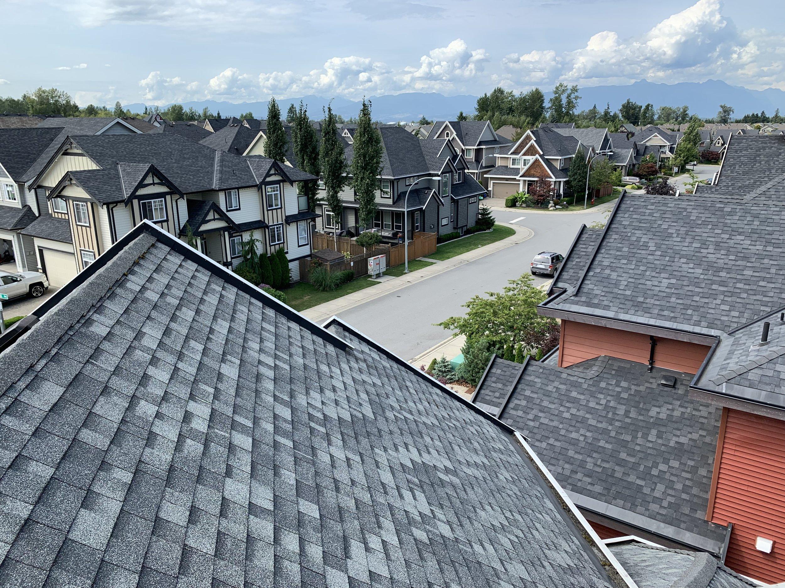 A rooftop view from a Langley neighbourhood