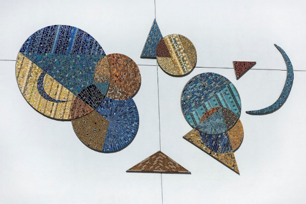A commissioned Piece by Piece mosaic on ACOF's Silver Star apartment building