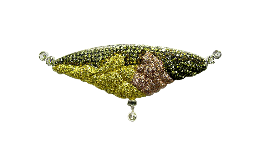 """""""WHISPER"""" - PENDANT BROACH WITH NATURAL COLOR DIAMONDS AND ROSECUT DIAMONDS SET IN 18K GOLD"""