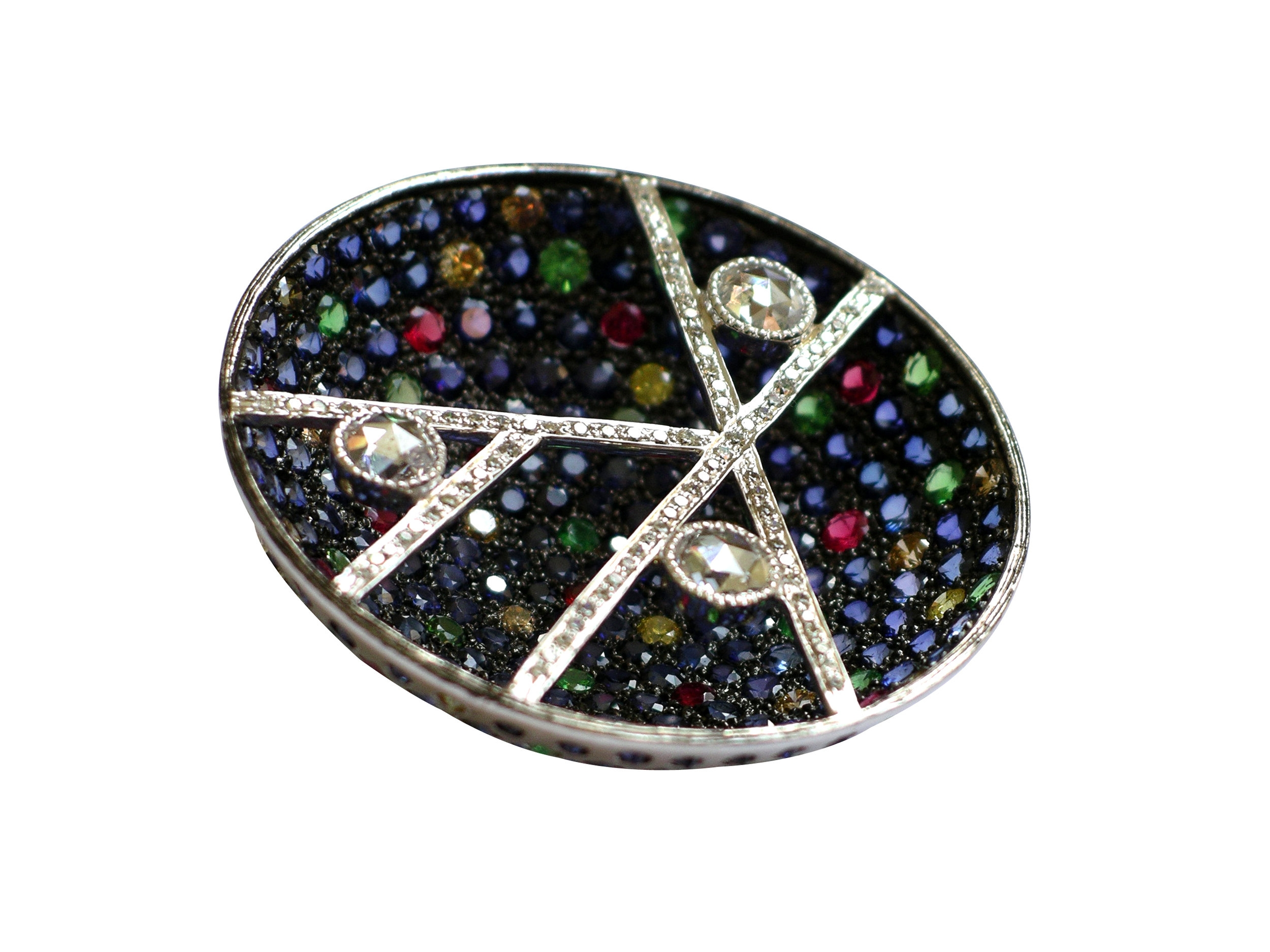 """""""AUREOLE"""" - PENDANT BROACH WITH MULTICOLOR SAPPHIRES  AND ROSECUT DIAMONDS IN 18K WHITE GOLD"""