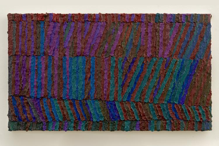 "studio table , 2014-2015 oil on canvas 14 x 24"""