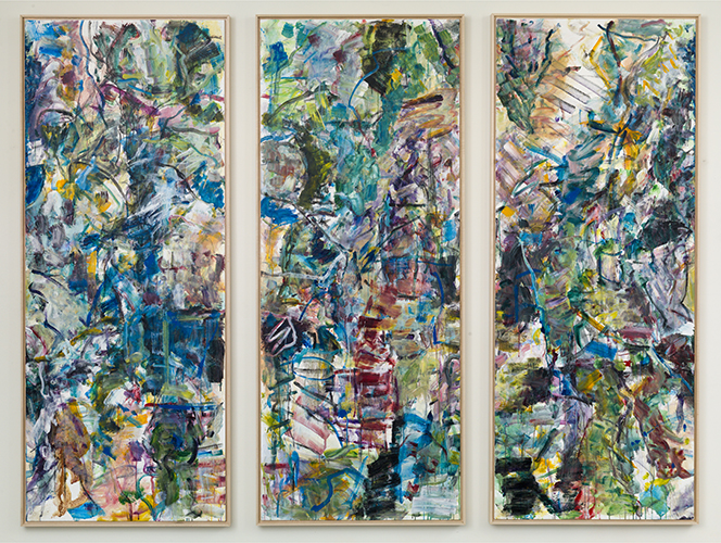 "dictionary see summer , 2016 acrylic on canvas triptych 80 x 32"" each"