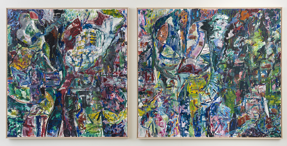 "dictionary land and see , 2015 oil on canvas diptych 70 x 66"" (left panel) 70 x 72"" (right panel)"