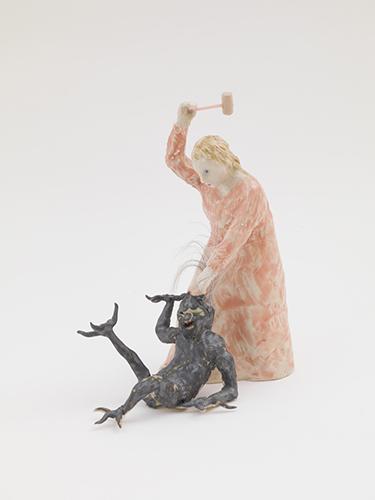 """Margaret of Antioch (eastern) , 2015 glazed porcelain, plastic, wood, fake hair 6 x 5 1/2 x 4"""""""