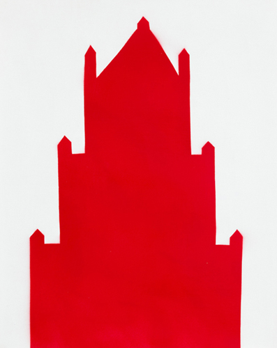 red 24 , 2014 spray paint on paper 20.5 x 16.5 inches