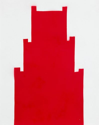 red 25 , 2014 spray paint on paper 20.5 x 16.5 inches