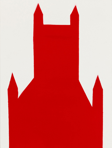red 26 , 2014 spray paint on wood 16 x 12 inches