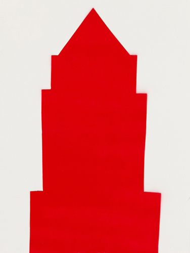 red 27 , 2014 spray paint on wood 16 x 12 inches