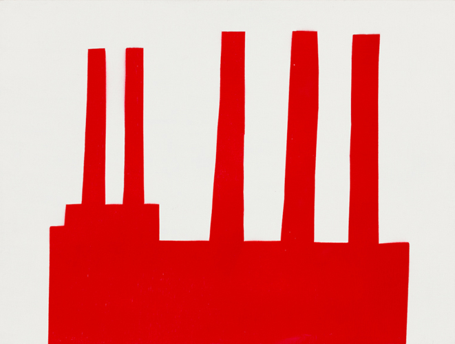 red 28 , 2014 spray paint on wood 12 x 16 inches
