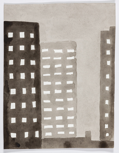 nyc 592 , 2014 acrylic on paper 11 x 9 inches