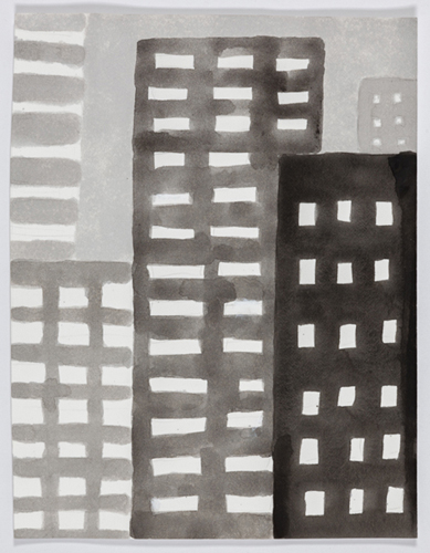 nyc 585 , 2014 acrylic on paper 11 x 9 inches