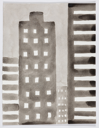 nyc 588 , 2014 acrylic on paper 11 x 9 inches