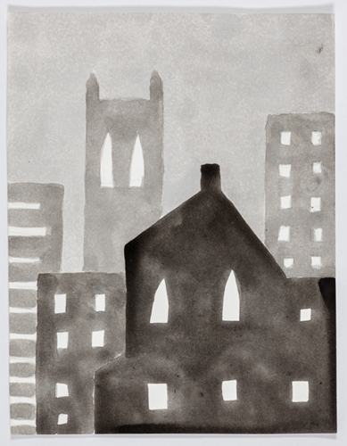 nyc 591 , 2014 acrylic on paper 11 x 9 inches
