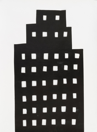 night building 1 , 2014 spray paint on paper 16.75 x 12.75 inches