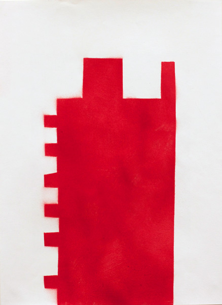 RED #8 , 2012 spray paint and gesso on paper 17 x 13 inches