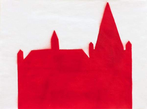 RED #9 , 2012 spray paint and gesso on paper 13 x 17 inches