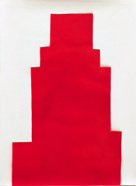 RED #11 , 2012 spray paint and gesso on paper 17 x 13 inches