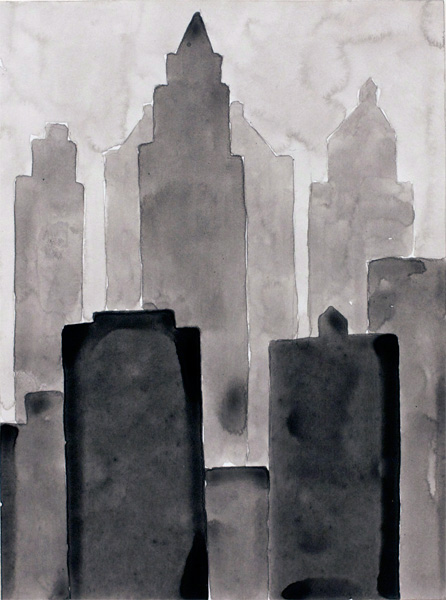 NYC #496 , 2011 acrylic on paper 10 ½ x 8 inches