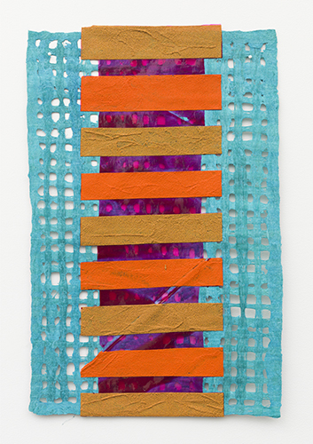 "amate stack , 2016 acrylic on amate paper 23 1/2 x 15 1/2"""