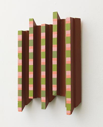 """peachy keen , 2011-16 acrylic on wood 15 x 11 x 2"""""""