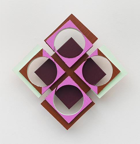 "parcheesi , 2015 acrylic on wood 13 x 13 x 1 ¾"""
