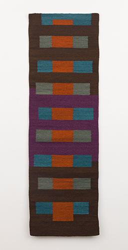 """untitled (tapete) , 2015 hand-dyed woven wool 72 x 22 ¾"""""""