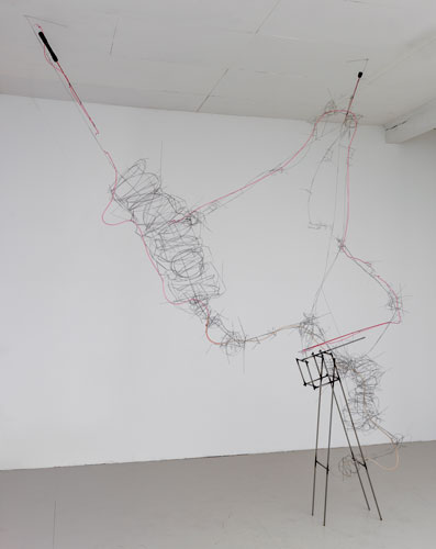 """red poles ,2014 stainless steel wire, steel, plastic tube, fishing poles 117 x 100 x 14"""""""