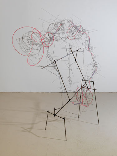 """loose tangle ,2013 stainless steel wire, steel, plastic tube 56 x 49 x 14 1/2"""""""